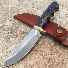 "9"" Grapple Skinner Hunting Knife Black Wood Handle, Leather Sheath DH-7983 w"