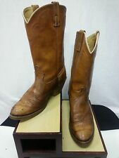 Vtg Men Dingo Boots #5907 All Brown Leather Pull Straps Cowboy Western 8.5 D