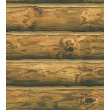 3-D Light Brown 6 Inch Log Cabin 27 Inch Wide Sure Strip Wallpaper CH7980