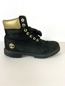 Timbeland Men's Boots 6 inch Premium Waterproof Black Gold Nubuck Size 9