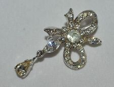 Vintage Crystal Bow Shape Dangle Brooch pin Lapel Hat Scarf
