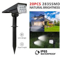 20 LED Solar Lights Landscape Spotlight Outdoor Pathway Garden Lamp Waterproof
