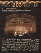 R.E.M. Fanclub Newsletter 2002 Plays Benefit