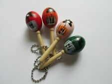 12 Wooden MARACA KEYCHAINS key chains FREE S/H maracas beach party