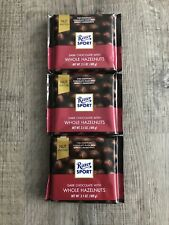 Lot Of 3 Ritter Sport Dark Chocolate Bars With Whole Hazelnuts 3.5 oz.