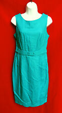 ASOS Womens Turquoise Blue Linen Pin Up Retro Mod Sheath Tank Dress US 6 UK 10
