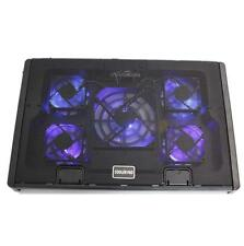 "USB LED 10-17"" Laptop 5 Fans Cooler Cooling Adjustable Stand Anti-Slip Pad Black"