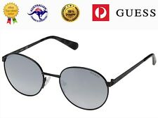 Guess Unisex GU5202 02C Matte Black Metal Frame Smoky Mirror Lenses Sunglasses