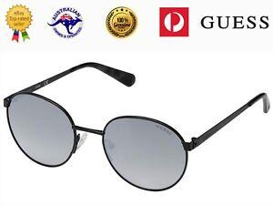 Guess Unisex GU5202 02C Matte Black Metal Frame Smoky Mirror Lenses Sunglasses