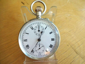 Heuer,Chronograph,Taschenuhr,Pocket Watch,Cal.601+604, 925er Silber,English case