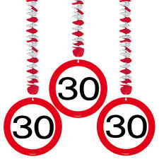 30TH BIRTHDAY PARTY SET 3 HANGING DECORATIONS AGE TRAFFIC SIGN
