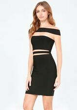 NWT bebe black strappy off shoulder cutout zipper back bandage top dress XS 0 2