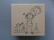 Peddler'S Pack Rubber Stamps Wilda Plays On Beach With Kitty New Stamp