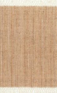 nuLOOM NCNT24A 4 x 6 ft Raleigh Hand Woven Wool Area Rug - Cream Color