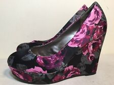 Madden Girl Size AU 8 / EUR 39 Colorful Textile Floral Wedge Shoes