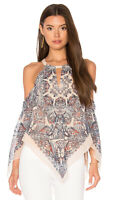 BCBG Max Azria Jax Cold Shoulder Asymmetrical Silk Flowy Top Small $198