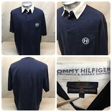 Tommy Hilfiger Men's Large Polo Style Shirt Solid Blue Chest Logo H, 3 Button F2