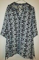 Worthington women's button down top size XL sheer black white 3/4 sleeve