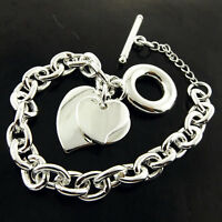 BRACELET BANGLE REAL 925 STERLING SILVER S/F SOLID LINK T'BAR DOUBLE HEART CHARM