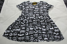 DC Comics Batman Ladies Black Printed Short Sleeve Smock Dress Size M New