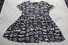 DC Comics Batman Ladies Black Printed Short Sleeve Smock Dress Size L New