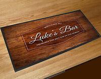 Personalised Wood Effect Beer Label bar runner Pubs & Cocktail Bars Bar Mat