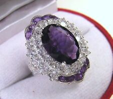 8.47 CTW AMETHYST/WHITE SAPPHIRE RING #6.75  WHITE GOLD over 925 STERLING SILVER