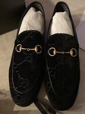 Gucci Jordaan Nero black GG Velvet Leather Horsebit Loafers Women's 41 11 NEW