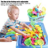 39pcs Magnetic Fishing Toy Fish Rod Net Set Playing Game Educational Kids Gift❤1