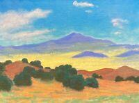 Southwest Gold Santa Fe Taos New Mexico Art Oil Painting Landscape Desert Nambe