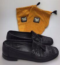 Florsheim Imperial Black Caiman Alligator Leather Tassel Loafers Shoes Mens 12 D