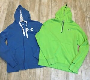 LOT MENS UNDER ARMOUR STORM HOODIES BLUE ZIP, LIME GREEN PULLOVER SMALL EUC