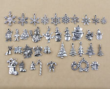 38pcs Mixed Christmas Series Antique Silver Charms Pendants Findings 30-10mm 4C
