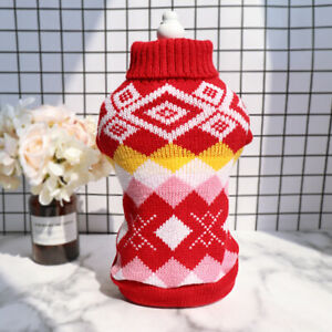 Small Dog Cat Winter Sweater Pet Puppy Knitted Clothes Chihuahua Jumper S-2XL