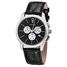 Azzaro Men's Legend Black Dial Leather Strap Chronograph Watch AZ2040.13BB.000