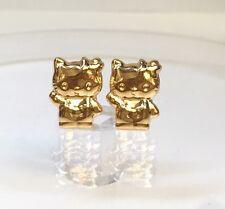 18k Solid Yellow Gold Cute Hello Kitty Stud Earrings, Diamond Cut 1.52 Grams