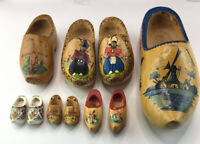 VTG Lot Of 10 Collectible Mini Dutch Wooden Clog Shoes Made in Holland