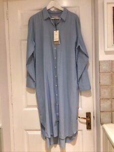 """Selected Femme Oversize Denim Style Long Shirt Dress Sz 38 ( 46"""" Bust) Bnwt"""