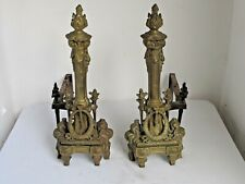 "Antique 19th c. Brass French Fireplace Andirons 20"" tall"