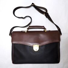 DUNHILL men shoulder bag holder black brown leather gold messenger crossbody