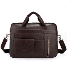 Men Genuine Leather Business Briefcase Shoulder Bag Messenger Laptop Handbag