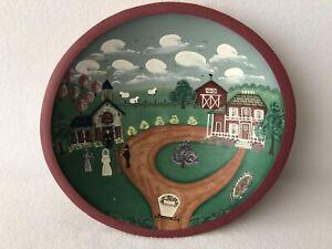 Decorative Hand Painted Wood Bowl Wedding Scene Amish Buggy Numbered 34/150