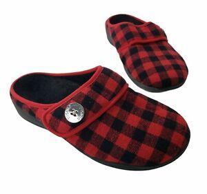 Vionic Sadie Slippers Buffalo Plaid Fleece Slip On Red Black Warm Mules Womens 8