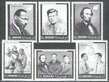 Manama 1968 ** Mi.99/104 A Luther King JFK Kennedy Lincoln Soldaten