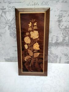 VINTAGE GABRIELLA SORRENTINO WOODEN INLAY PICTURE FLOWERS/FLORAL
