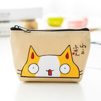 Cartoon Cat Pattern Canvas Lovely Wallet Earphone Card Storage Bag Coin Purse