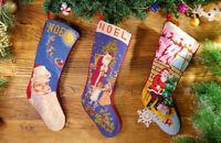 Hand Stitched Busy & Happy Santa Claus Xmas Tree Needlepoint Christmas Stocking