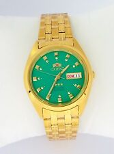 ORIENT 3 Star Automatic Watch Mens Gold tone watch GREEN dial with Box