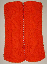 Neon Orange 'Carrot' Cable & Garter Stitch Knit Fingerless Gloves Text Hand Knit