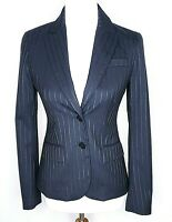 Theory Blazer Jacket Size 2 Fitted Black Pinstripe Wool Blend Collar Business